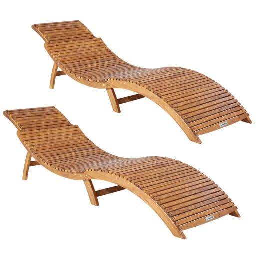 2er-Set Faltbare Sonnenliege aus Akazienholz