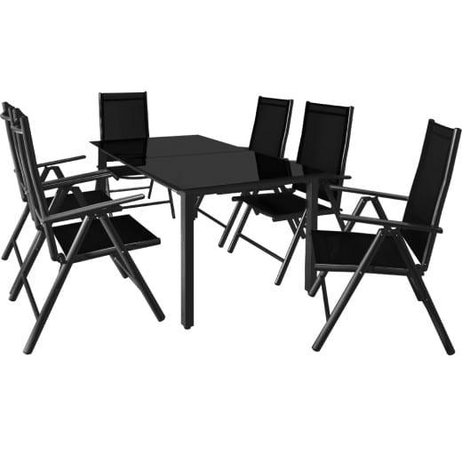 Set Sedie con Tavolo WPC da giardino Bern pieghevole 7 pezzi antracide alluminio
