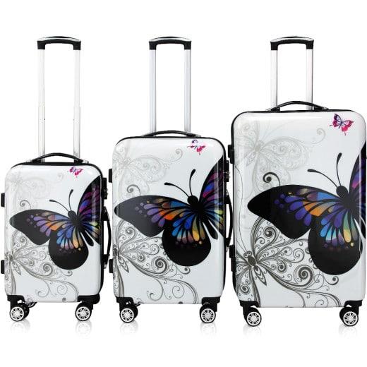 Set Valigie rigide Butterfly M/L/XL 3 pezzi bianco 42l 66l 98l