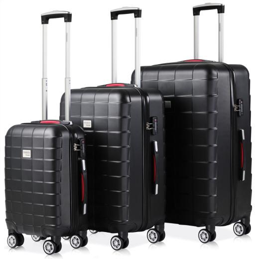 Set Tolley Exopack chiusura TSA 3 pezzi neri M,L,XL
