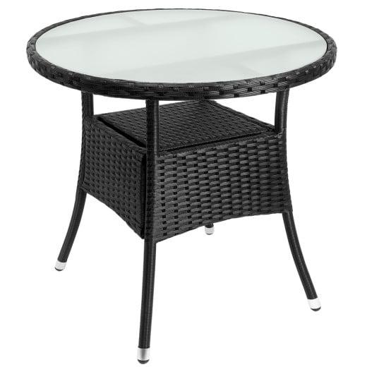 Tavolo da giardino rotondo nero polyrattan Ø80cm