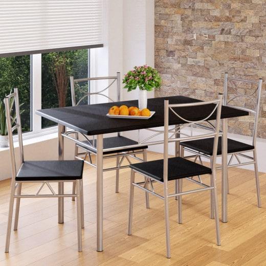 Set Sedie con Tavolo Paul 5 pezzi alluminio nero