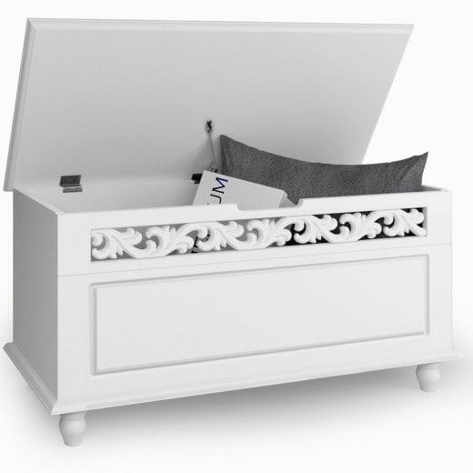 Cassapanca Baule Jersey Contenitore Bianco in Legno