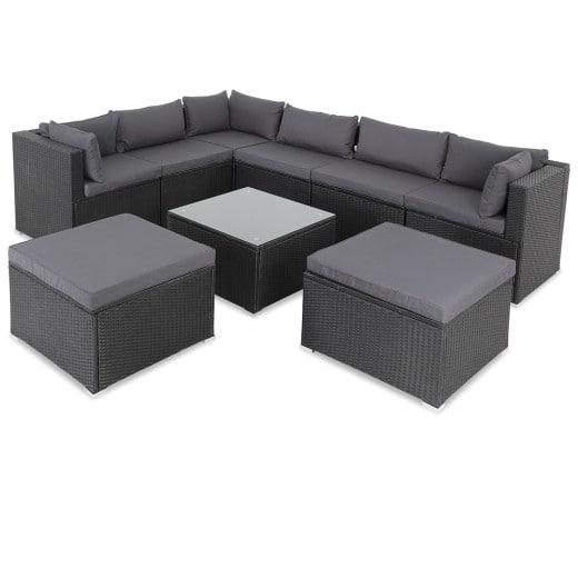 Polyrattan Lounge Set mit 26 Teilen in schwarz mit anthrazifarbenen Kissen
