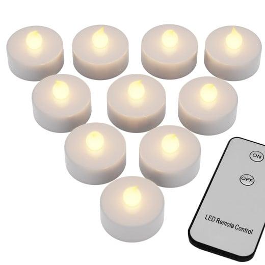 10 tlg. Kerzen-Set inkl. Fernbedienung in warm-weiß