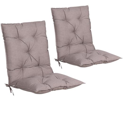 Set 2 x Cuscino con schienale per Sedie da giardino crema viscoelastico 116x57x7cm