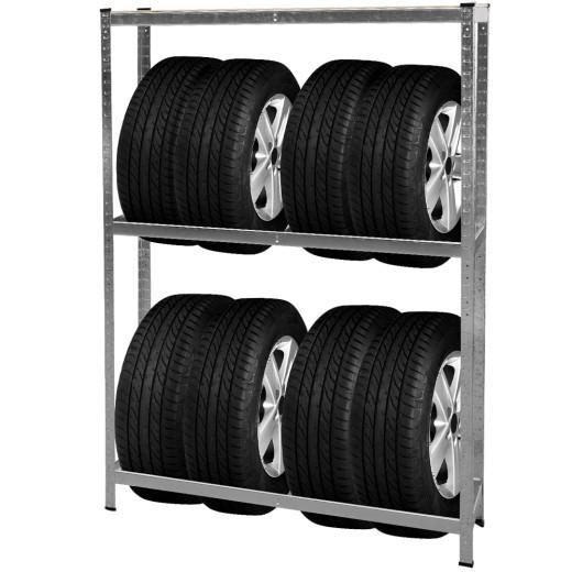 Reifenregal verzinkt mit 3 Böden und max. Kapazität von 795kg