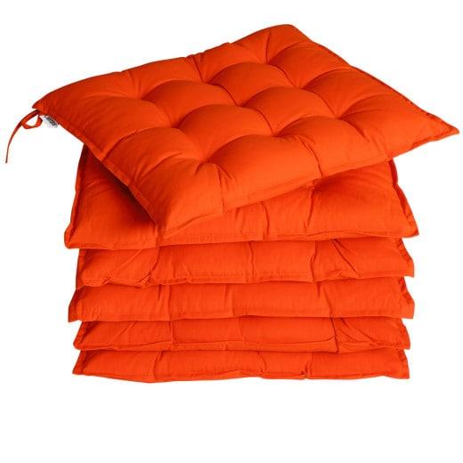 Set 6 x Cuscini per Sedia Cozy arancione 45x45x5cm