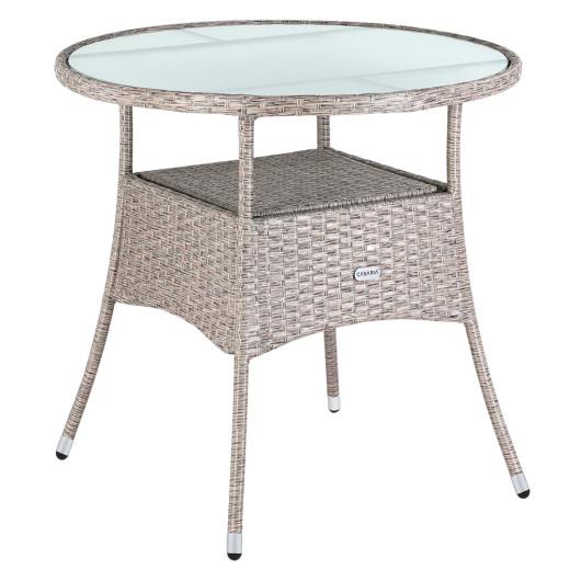 Tavolo da giardino rotondo con vetro smerigliato 80cm crema polyrattan
