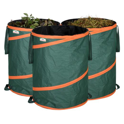 Set 3 Sacco da giardino pieghevole con chiusura verde 165l