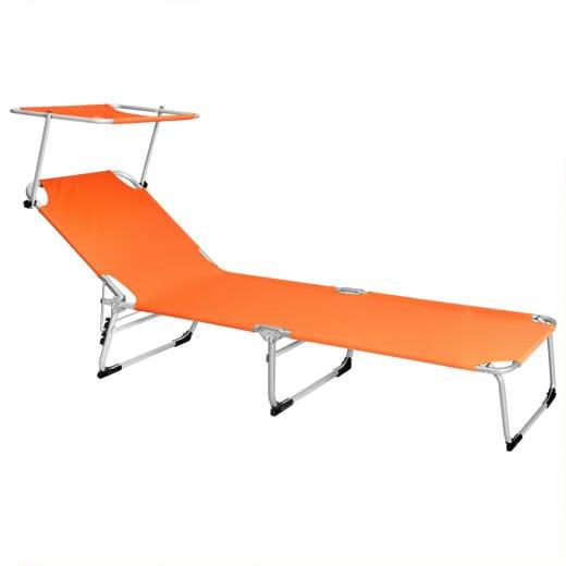 Lettino prendisole Hawaii pieghevole con tetto arancione alluminio 195x58x30cm