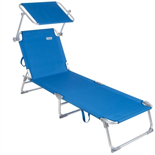 Lettino prendisole Ibiza pieghevole con tetto blu alluminio 190x59x29cm