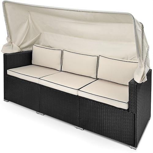 Divano Lounge da giardino con parasole nero-crema polyrattan 210x70x70cm