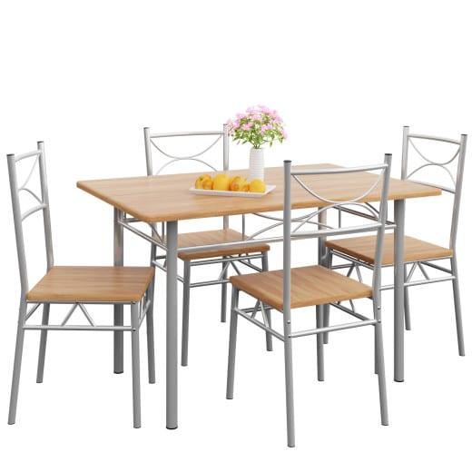 Sitzgruppe - Esstisch + 4 Stühle - Buche