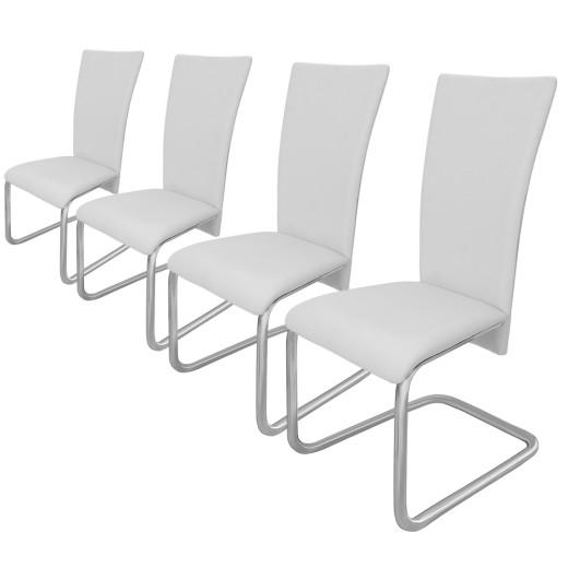 4 x Freischwinger Esszimmerstuhl Weiß