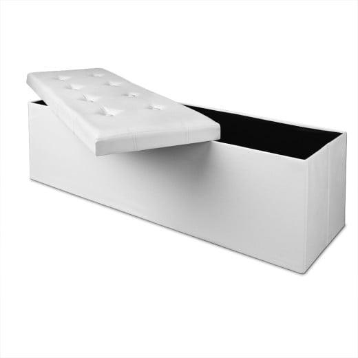 Sitzbank in weiß mit Stauraum und faltbar