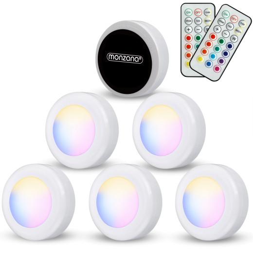 Set 6 x Luci per Armadio con telecomando multicolore LED