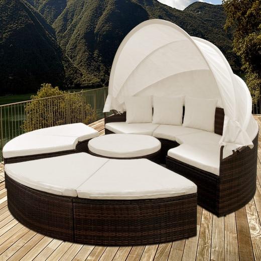 Isola prendisole con tetto e tavolino integrato WPC marron-crema polyrattan Ø185cm