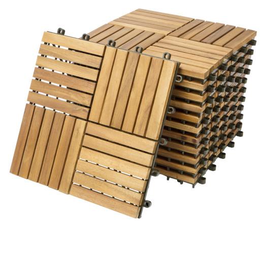 Set 11x Piastrelle legno acacia Quatro Mosaik 30x30cm