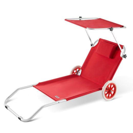 Lettino prendisole Kreta pieghevole con tetto e rotelle alluminio rosso 150x52cm