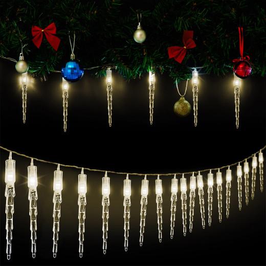 """Lichterkette """"Eiszapfen"""" 5,9m mit 30 Zapfen und 30 LEDs Warmweiß für Innen"""