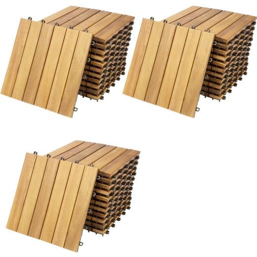 Set 33 x Piastrelle da giardino legno acacia 30x30cm