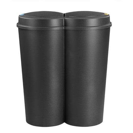 Pattumiera doppia con pulsante nero plastica 2x25L