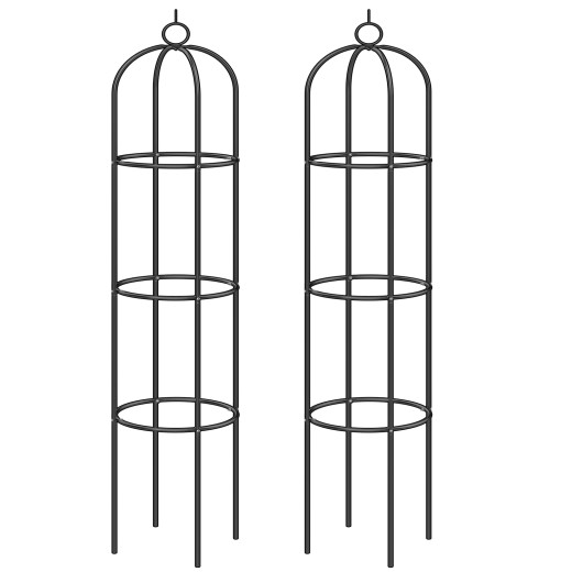 Set 2 x Pilastri per rose metallo nero 200x40cm