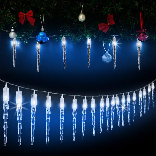 Lichterkette Weihnachten Eiszapfen 40 LEDs 10,4m Blau