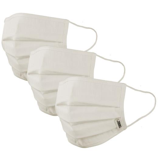 Set 3x Mascherine in tessuto crema - 100% cotone