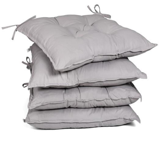 Set 4 x Cuscini per Sedie da giardino grigio viscoelastic 40x40x8cm