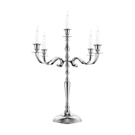 5-armige Kerzenleuchter aus Aluminium in silber