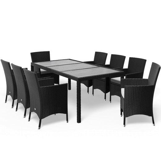 Salotto da giardino Riga con sedie impilabili 17 pezzi nero polyrattan