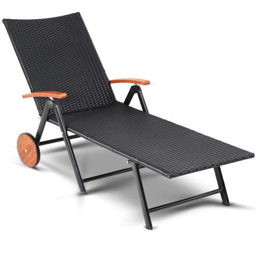 Lettino prendisole regolabile con rotello nero-crema legno acacia 200x60x40cm