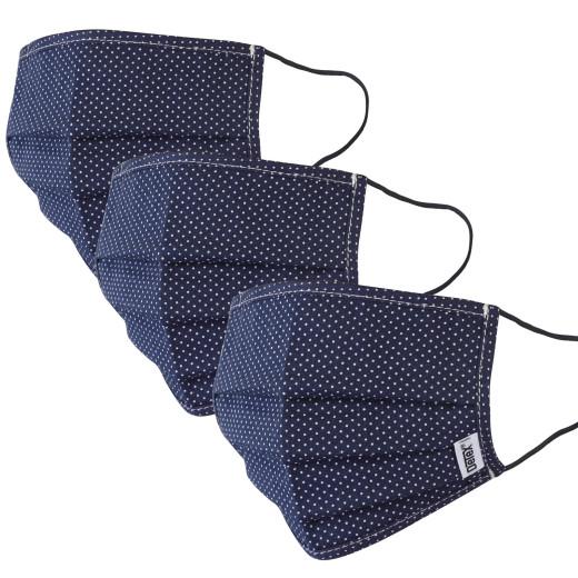 Set 3x Mascherine in tessuto punteggiato di blu - 100% cotone