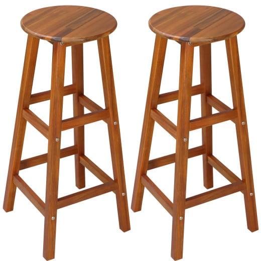 Set 2x Sgabelli da bar legno acacia