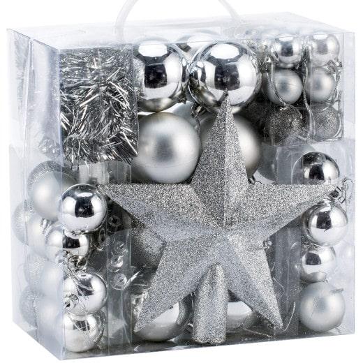 Weihnachtsbaumkugeln Silber 77 tlg.