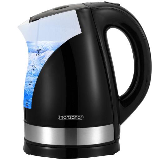Design Wasserkocher 1,7 Liter schwarz/silber 2200W Edelstahl
