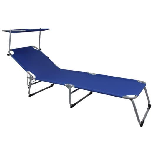 Lettino prendisole Hawaii pieghevole con tetto blu alluminio 195x58x30cm
