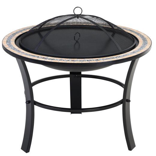 Braciere da giardino Fuego rotonda motivo a mosaico nera Ø76cm