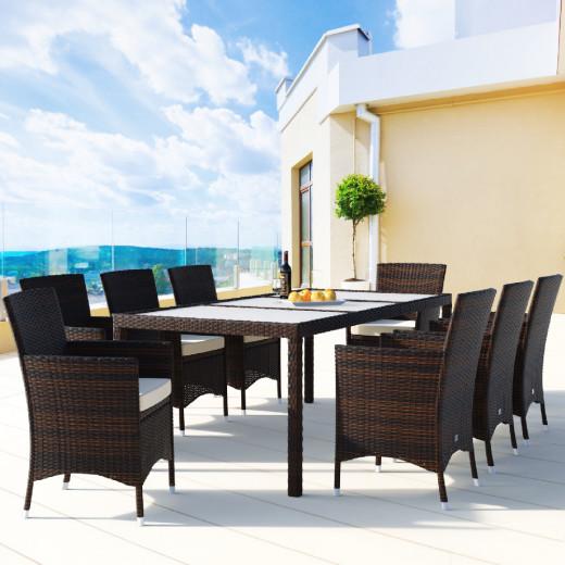 Salotto da giardino Bali con sedie impilabili 17 pezzi marrone polyrattan