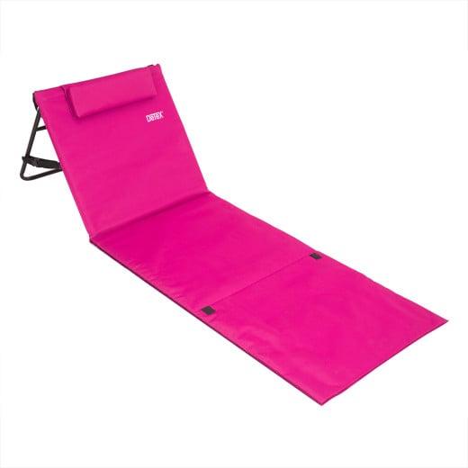 Stuoia da spiaggia con cuscino e schienale reclinabile fucsia 185x56cm