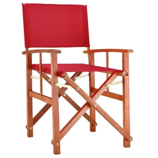 Sedia da regista Cannes rossa legno eucalipto - Certificato FSC®