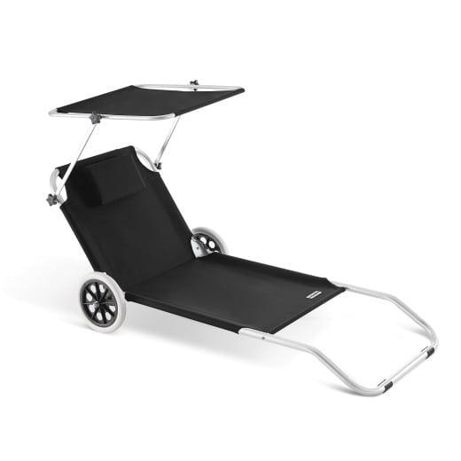 Lettino prendisole Kreta pieghevole con tetto e rotelle alluminio antracide 150x52cm