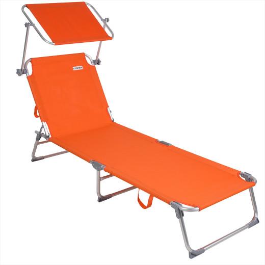 Lettino prendisole Ibiza pieghevole con tetto arancione alluminio 190x59x29cm