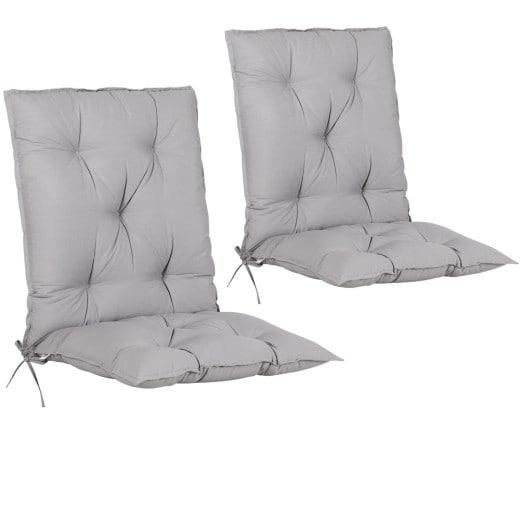 Set 2 x Cuscino con schienale per Sedie da giardino grigio116x57x7cm