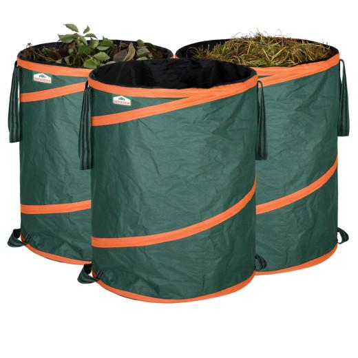 Set 3x Sacchi da giardino verdi da 85L