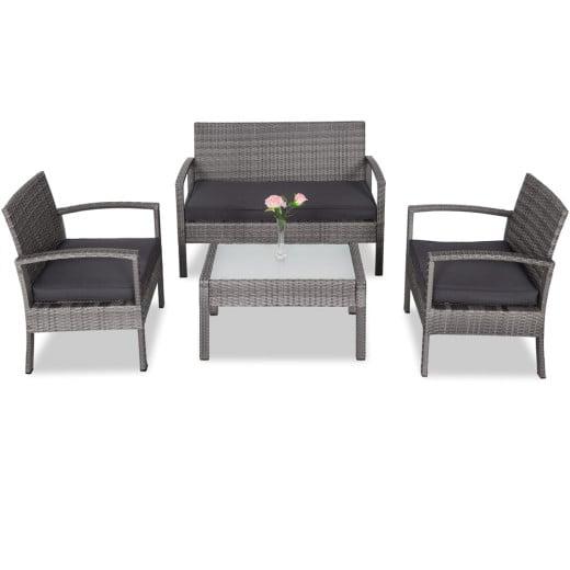 Polyrattan Lounge-Set 7-tlg. Grau/Anthrazit