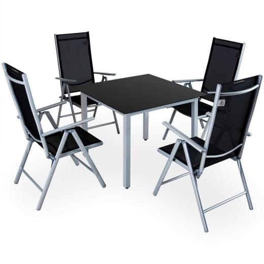 Set Sedie con Tavolo WPC da giardino Bern pieghevole 5 pezzi antracide alluminio