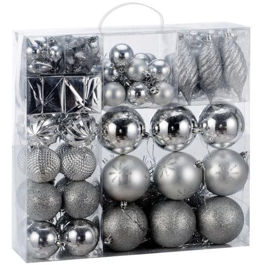 Weihnachtsbaumkugeln Silber 103 tlg.